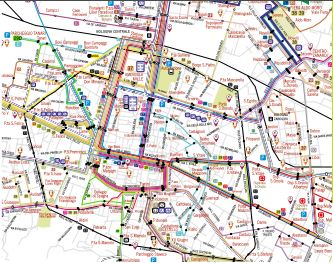 Click this thumbnail map of central Bolgna bus routes.