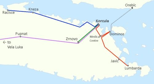 Map of the four bus routes in the Eastern part of korcula island