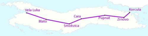 Map of the bus route between Korcula and Vela Luca