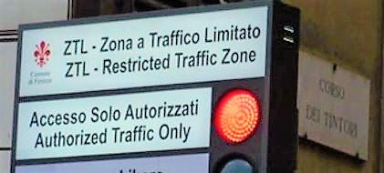 Restricted Traffic Zone sign in Florence